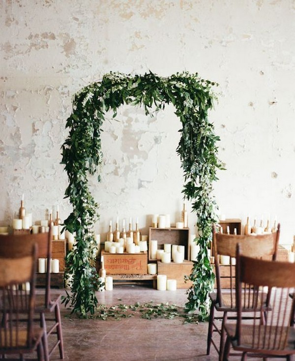 chic greenery wedding arch ideas
