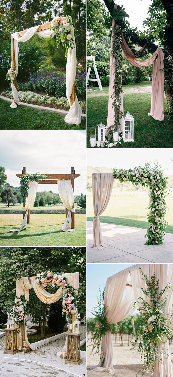 chic outdoor wedding arches with fabric drapery