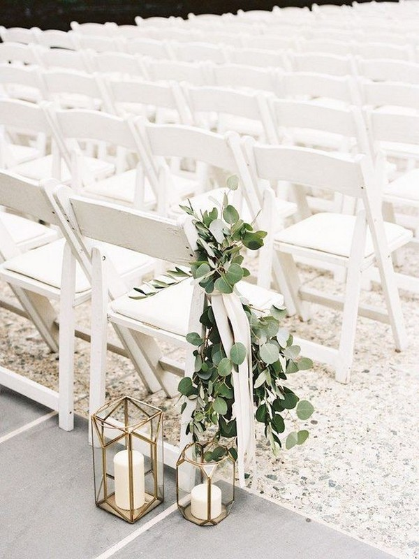 chic wedding chair decoration ideas with greenery and ribbon