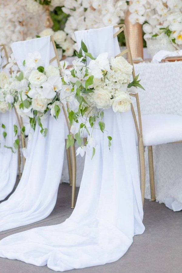 chic wedding chair decorations with fabric and floral