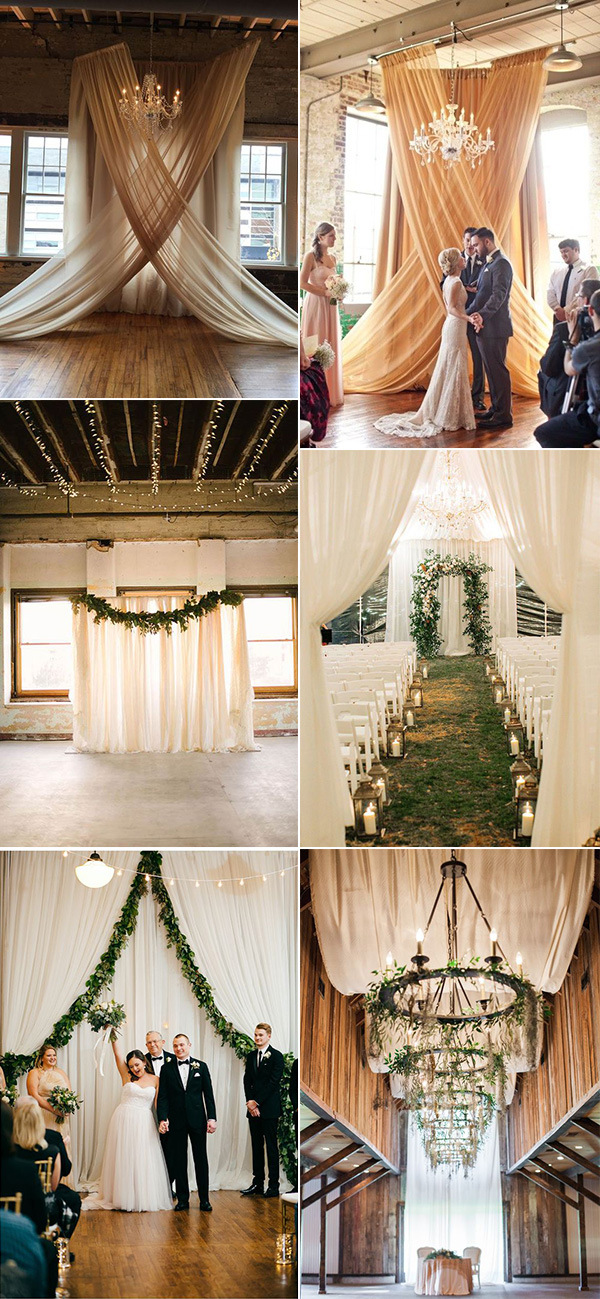 elegant drapery wedding ceremony decoration ideas