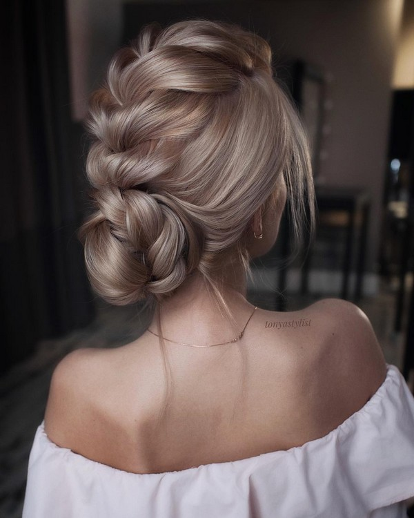 elegant twist updo wedding hairstyle ideas