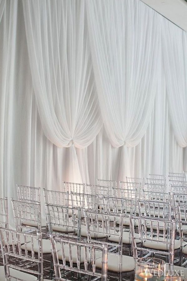 elegant wedding ceremony decoration ideas with white drapery