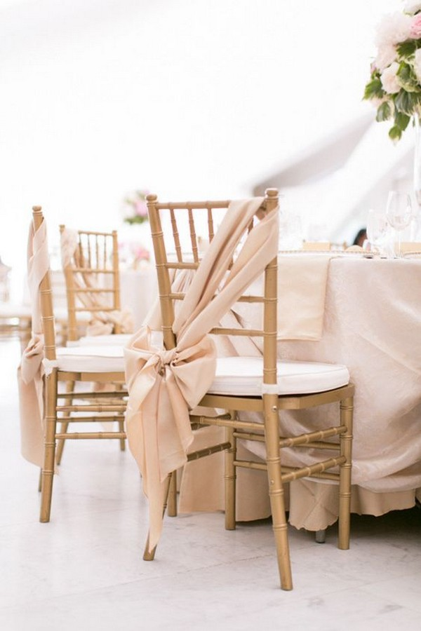 elegant wedding chair decoration ideas with blush fabric