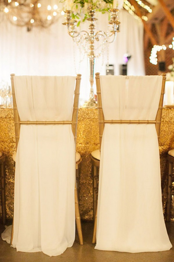 elegant wedding chair decoration ideas with fabric draping