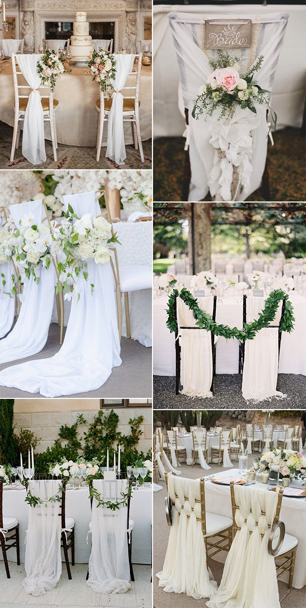elegant wedding chair decoration ideas with white fabric draping