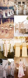 elegant wedding chairs decorated with fabric