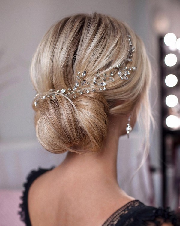 elegant wedding updos with headpiece