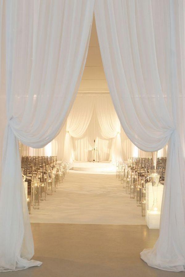 elegant white drapery wedding ceremony decoration ideas