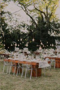 hanging Edison bulbs wedding reception ideas
