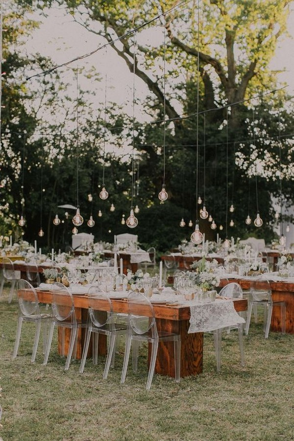 hanging Edison bulbs wedding reception ideas