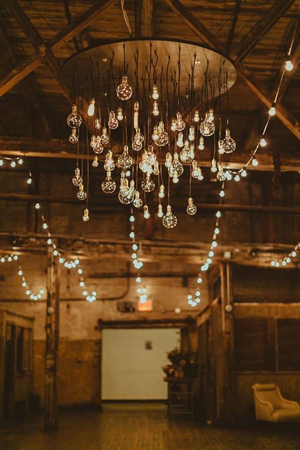 industrial Edison bulbs wedding chandelier