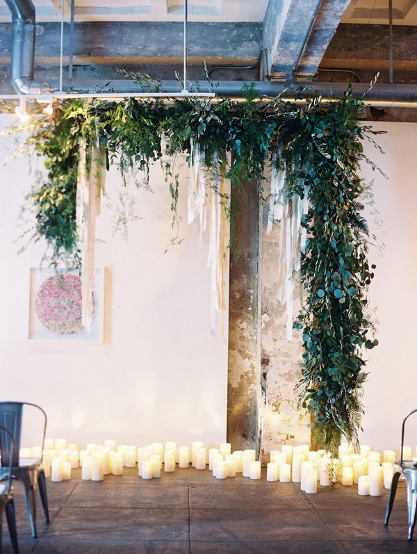 industrial greenery wedding arch decoration ideas