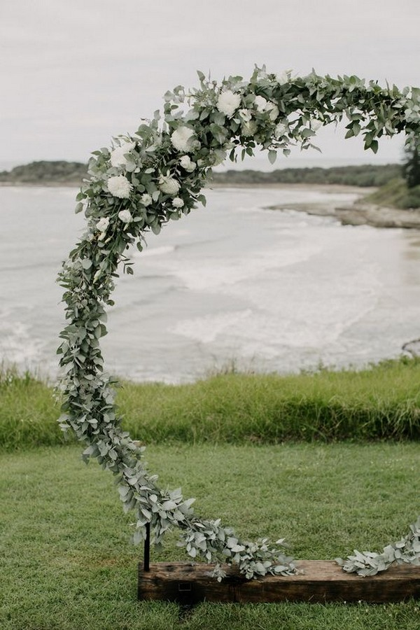 lakeside greenery circular wedding arch