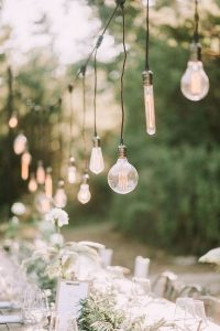 outdoor wedding reception ideas with hanging Edison Bulbs