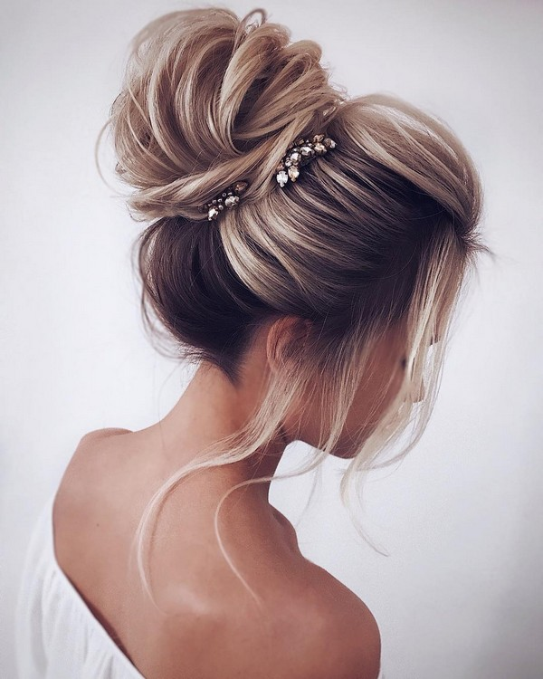pretty high bun wedding hairstyle