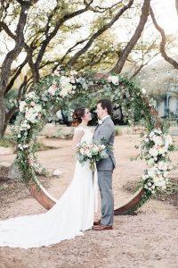 romantic circular wedding arch with garland