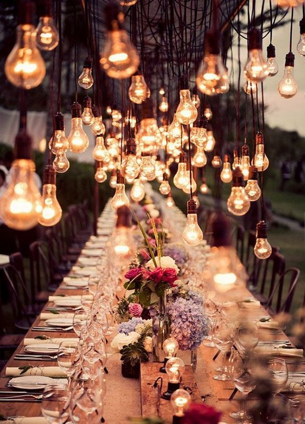 romantic outdoor wedding reception lighting ideas