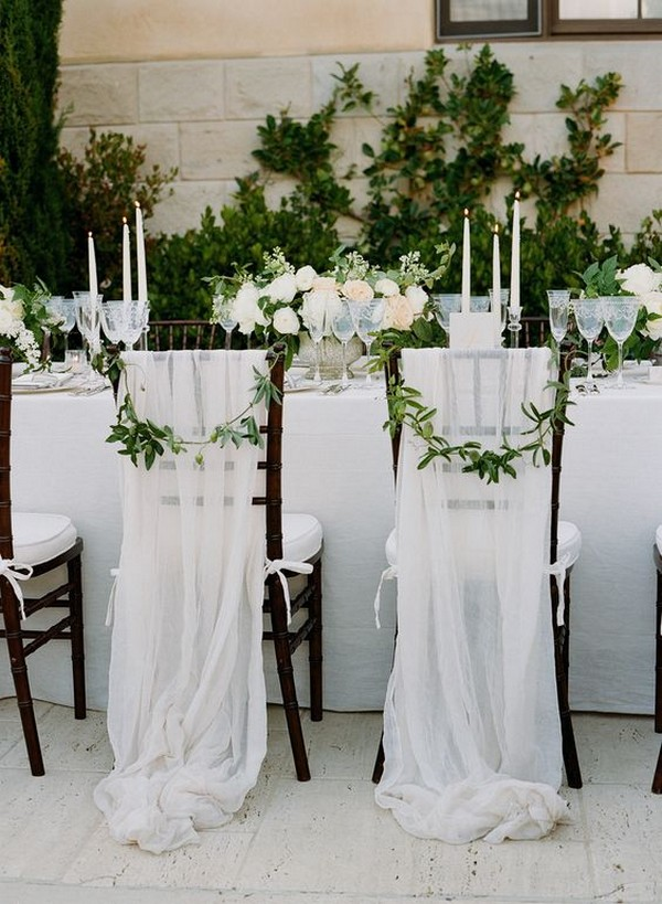 romantic tulle draped wedding chair decorations