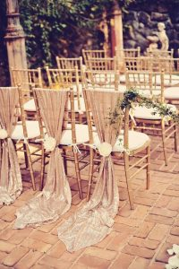 rose gold glitter fabric decorated wedding chairs