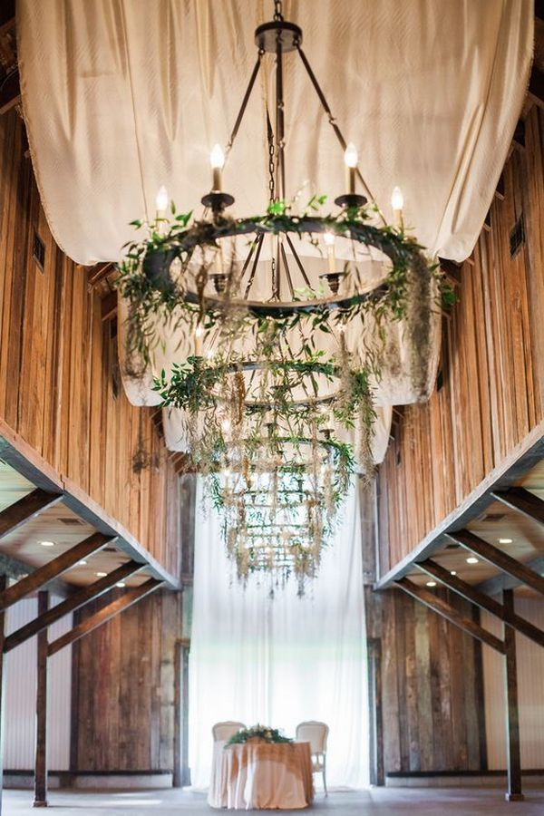 rustic chic wedding venue decoration ideas with ivory drapery