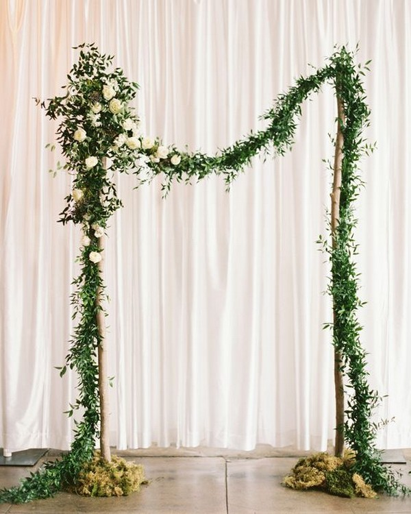 simple elegant greenery wedding arch ideas