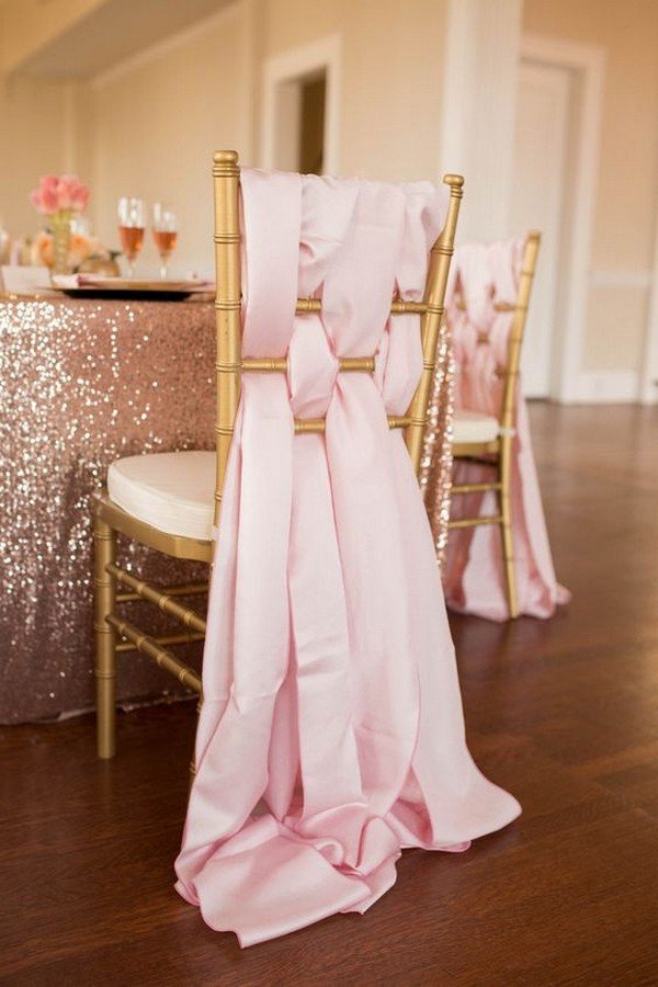 soft wedding chair decoration ideas with pink fabric
