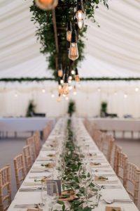 tented wedding reception ideas with Edison Bulbs