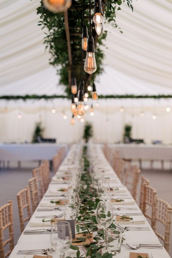 tented wedding reception ideas with Edison Bulbs