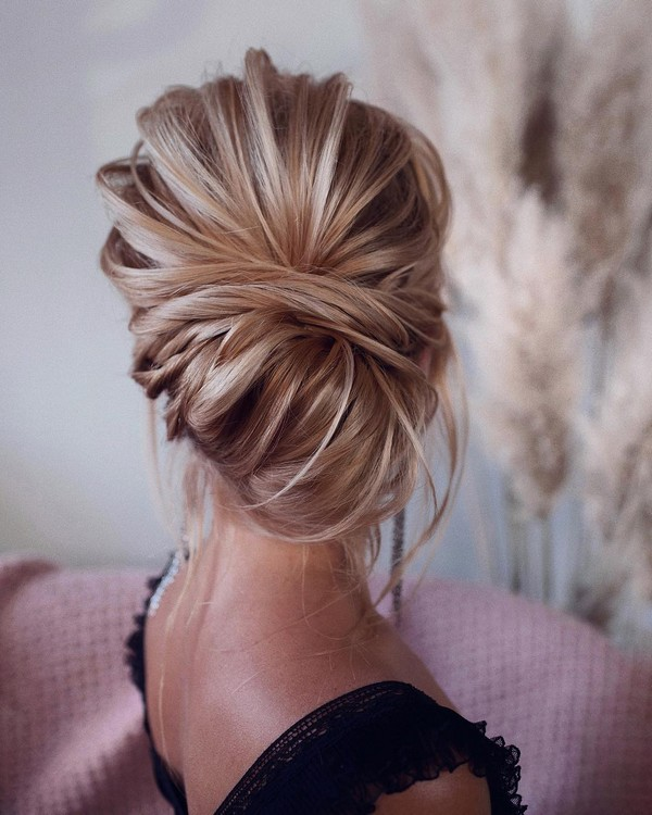 textured twist updo wedding hairstyle