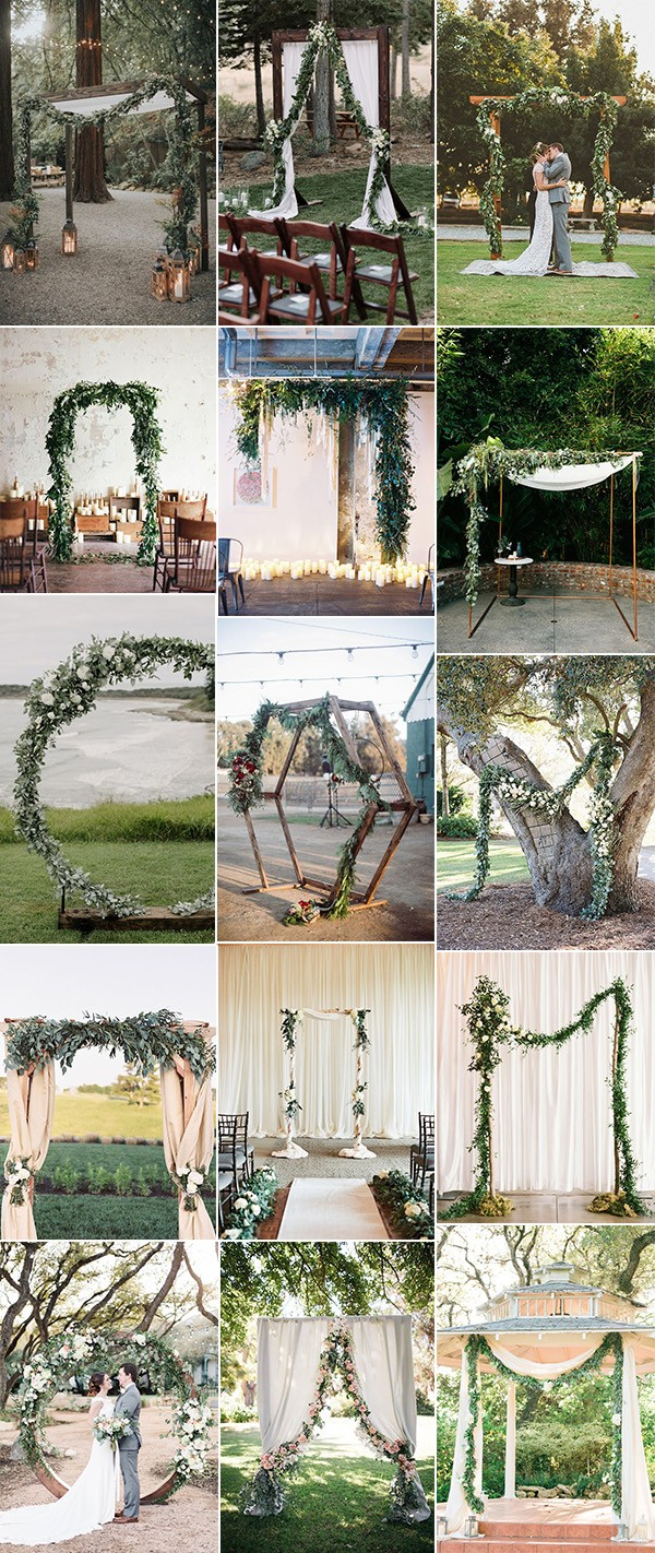 trending greenery wedding arches with garlands