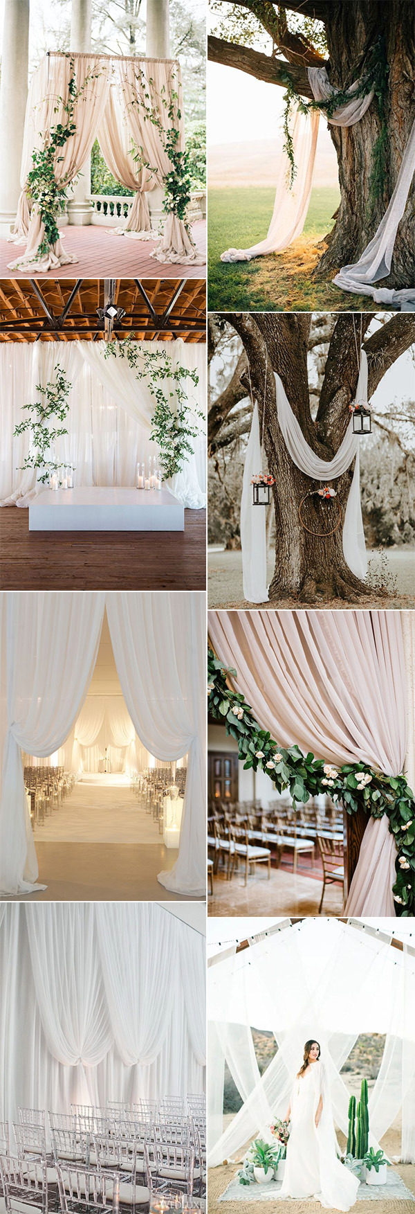 trending wedding ceremony decoration ideas with draped fabric