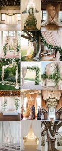 trending wedding ceremony decorations with draped fabric