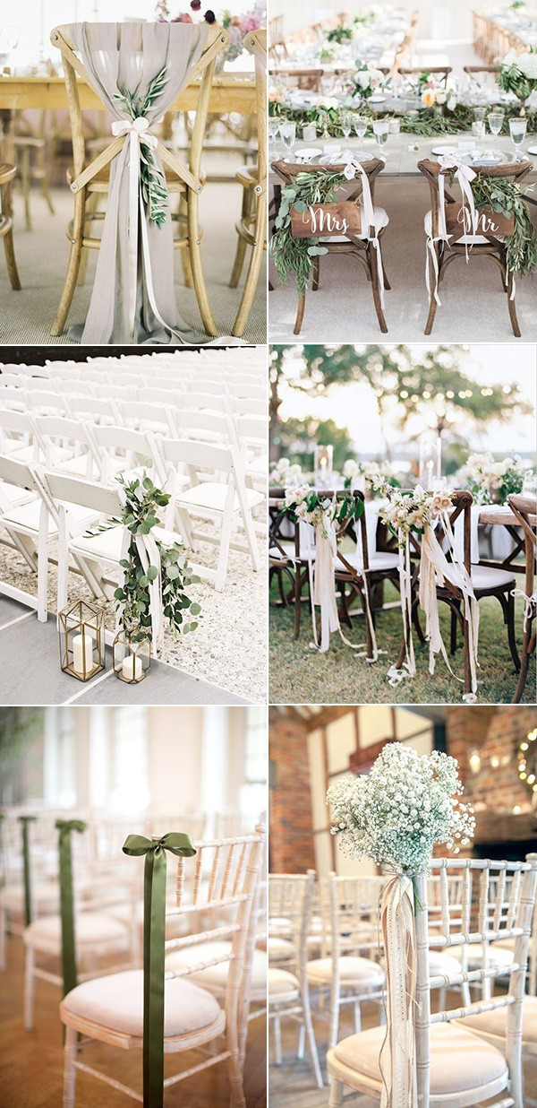 trending wedding chair decoration ideas with ribbons