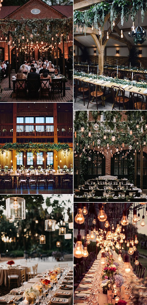 trending wedding reception decoration ideas with Edison bulb lighting