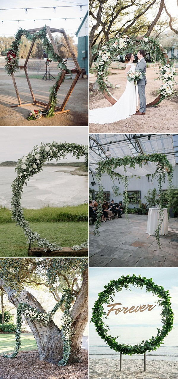 wedding arch decoration ideas with greenery garlands