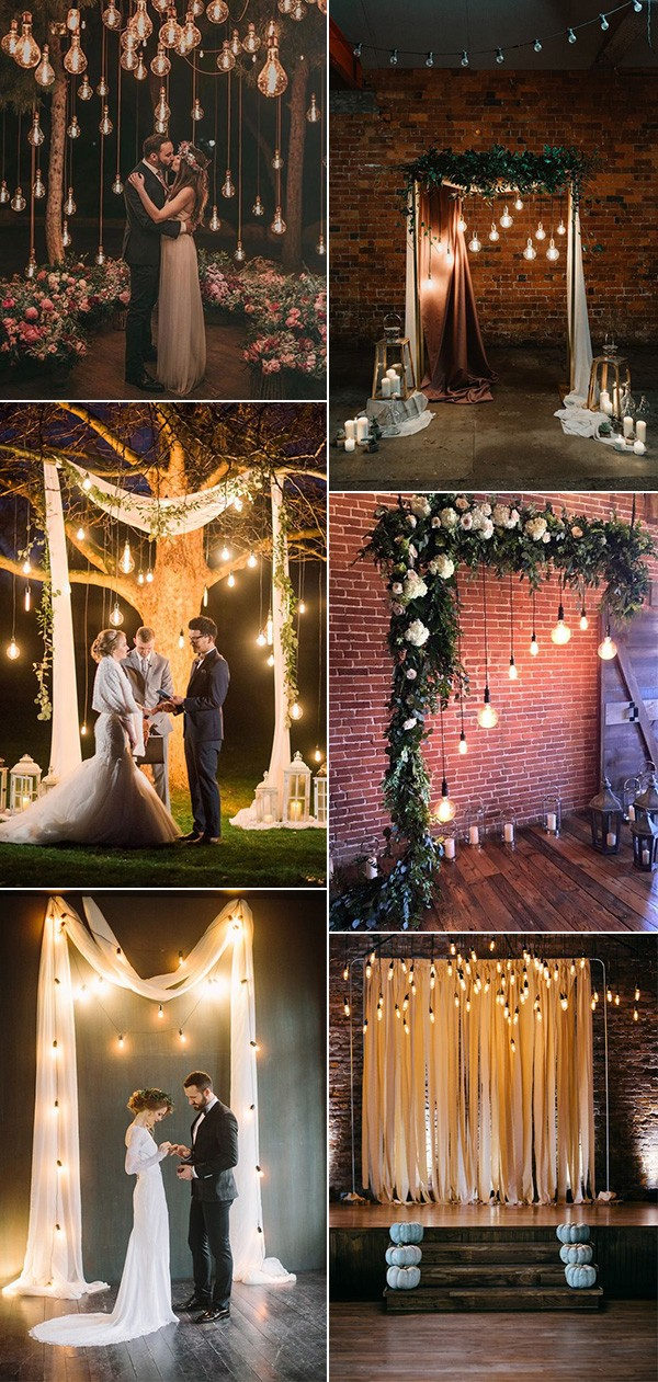 wedding ceremony decoration ideas with Edison bulb lighting