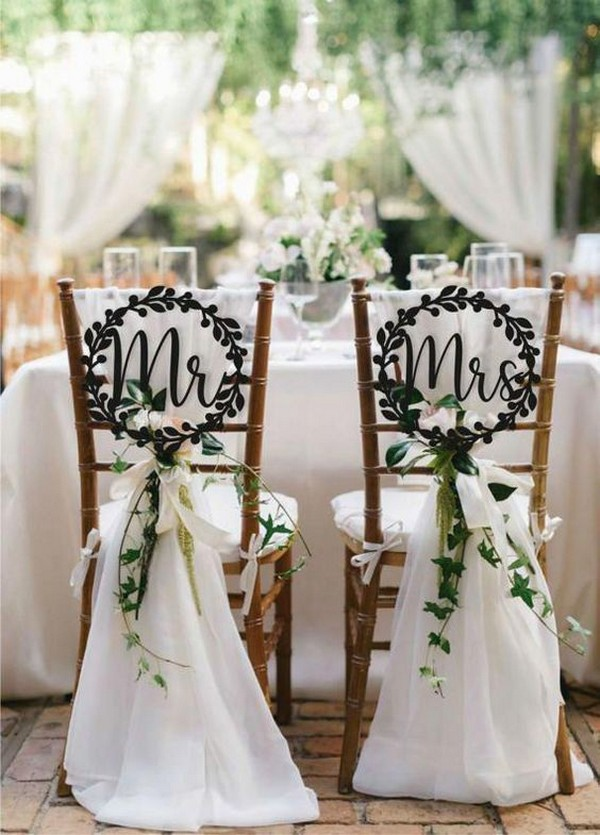 wedding chair decoration ideas with monograms and fabric