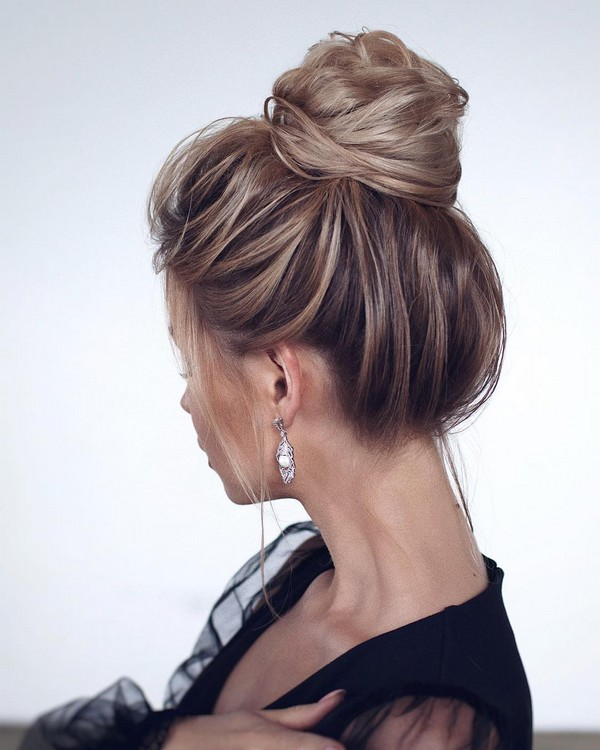 wedding hairstyle ideas high bun
