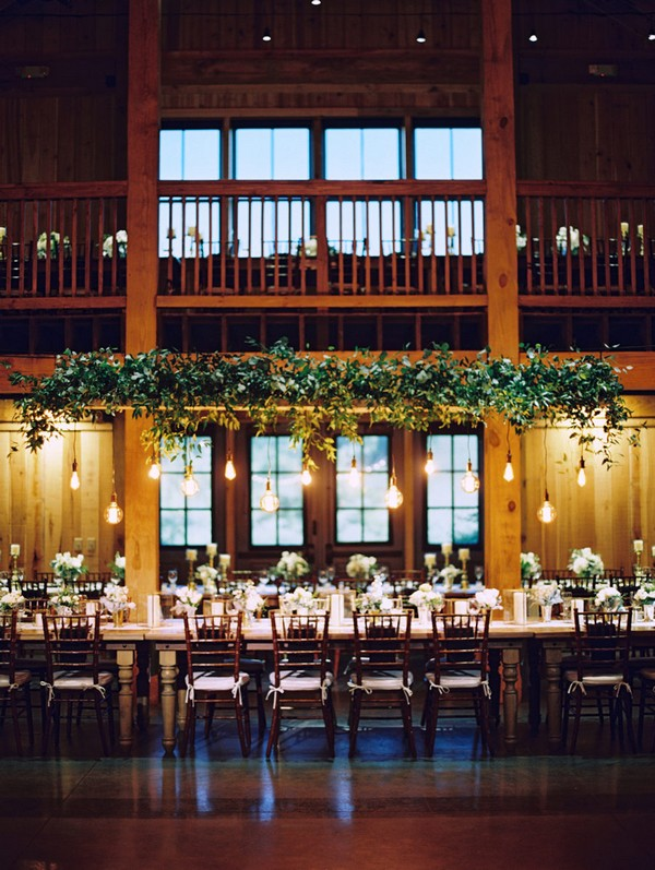 wedding reception decoration ideas with hanging greenery and Edison Bulbs