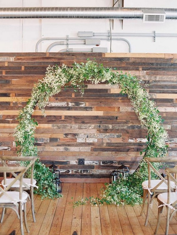 white and greenery wedding arch ideas