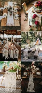 Macramé wedding table runners for boho chic receptions