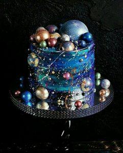 amazing hand painted Galaxy wedding cake