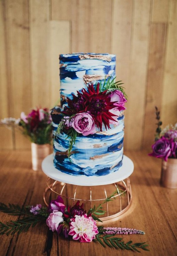 blue and burgundy hand painted wedding cake