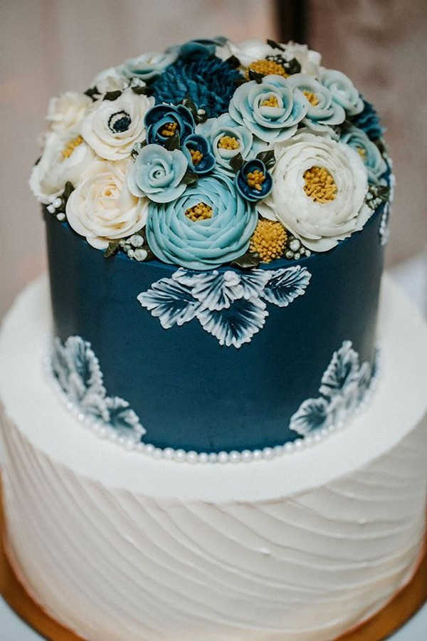 blue and yellow hand painted wedding cake