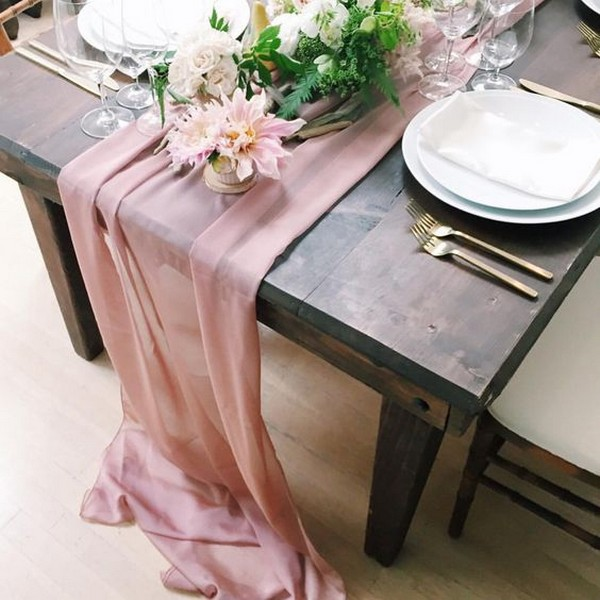 blush chiffon elegant wedding table runner