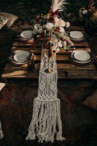 bohemian wedding table setting ideas for reception