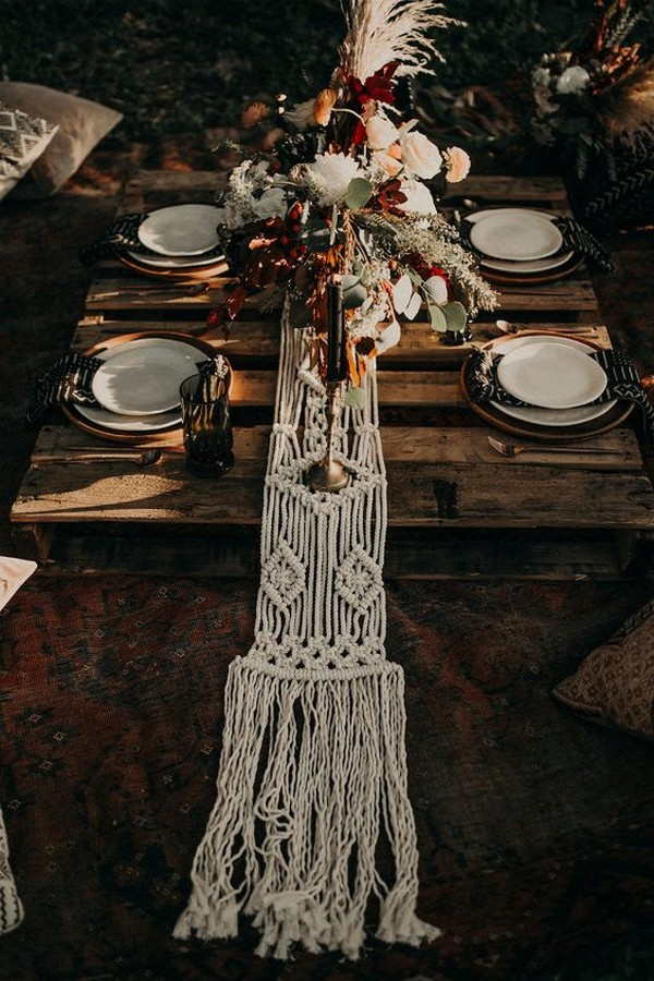 bohemian wedding table setting ideas for reception