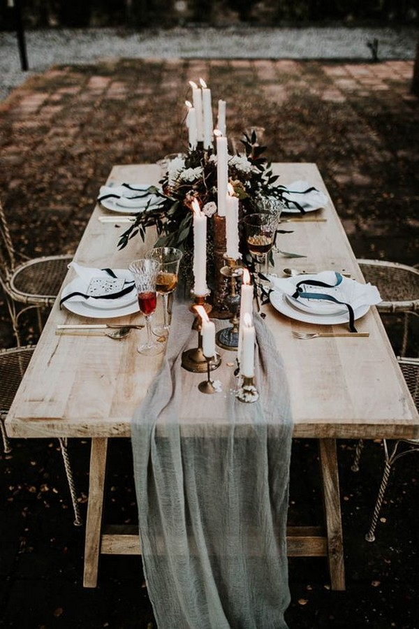 boho chic grey wedding table runner ideas