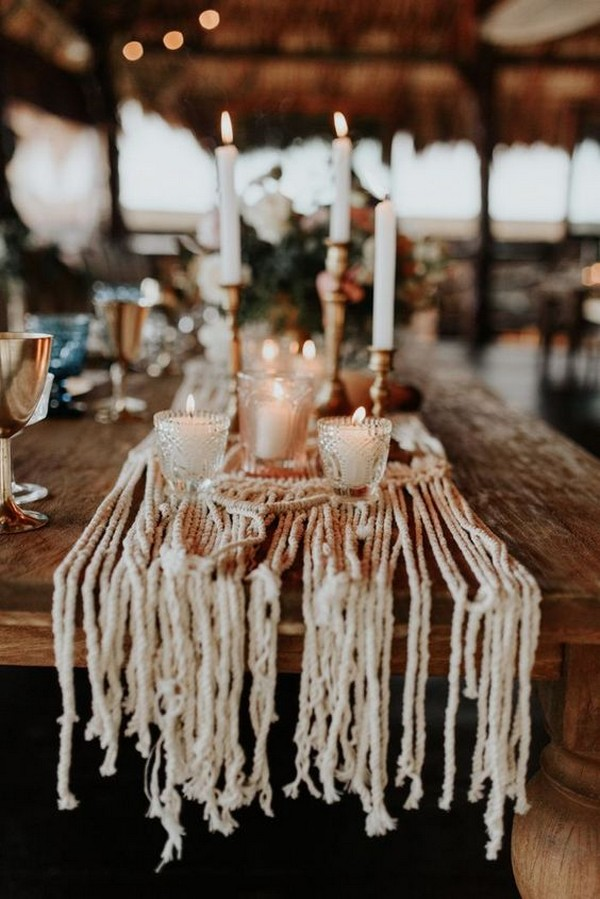 boho chic wedding centerpiece ideas with Macrame table runner